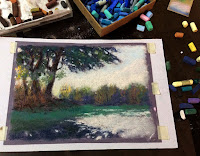Step 2 A soft pastel painting of a scene from Bharatpur Bird Sanctuary, Rajasthan