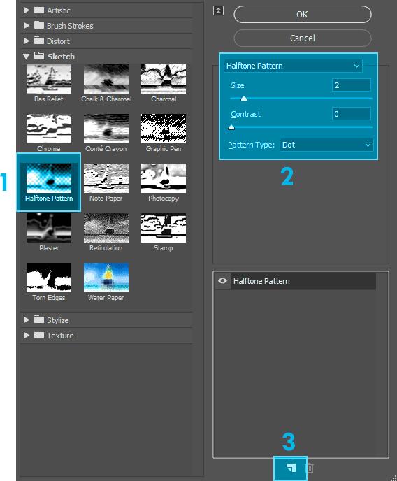 Membuat efek Halftone dengan Filter Gallery