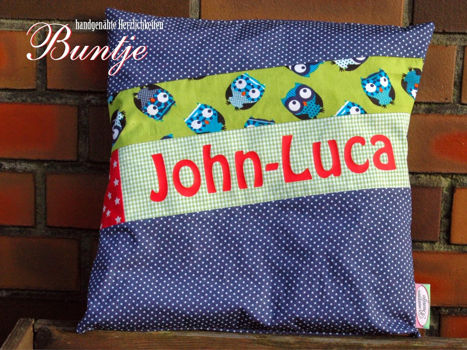 Namenskissen Kissen Name Geschenk Geburt Taufe Geburtstag Junge blau grün Eulen Tiere John Luca Buntje nähen handmade