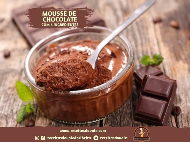 Receita de Mousse de Chocolate com 3 ingredientes