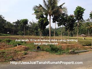 Jual tanah 15 ha di subang desa curug rendeng harga nego murah