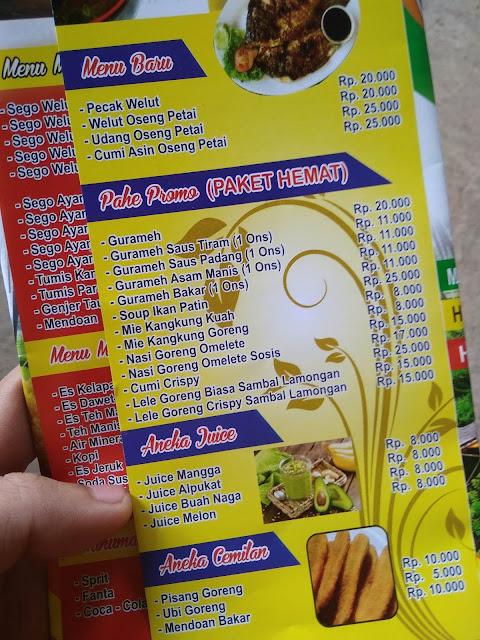 Daftar menu Taman Hexagone Cafe