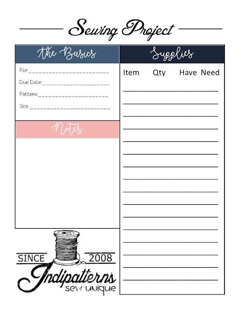 Free Sewing Project Printable Worksheet