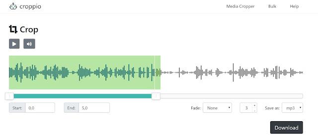 intefaccia di croppio per la modifica di un file audio
