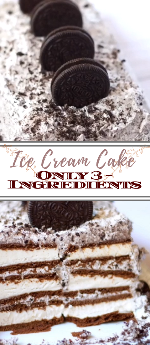 Homemade Ice Cream Cake – Only 3 Ingredients #desserts #cakerecipe #chocolate #fingerfood #easy