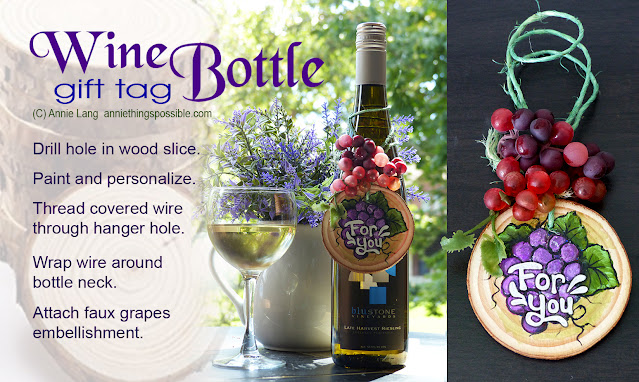 Annie Lang's Wood Slice Bottle Tag craft project make a perfect hostess or thank you gift!