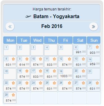 Harga Tiket BATAM JOGJA Februari 2016
