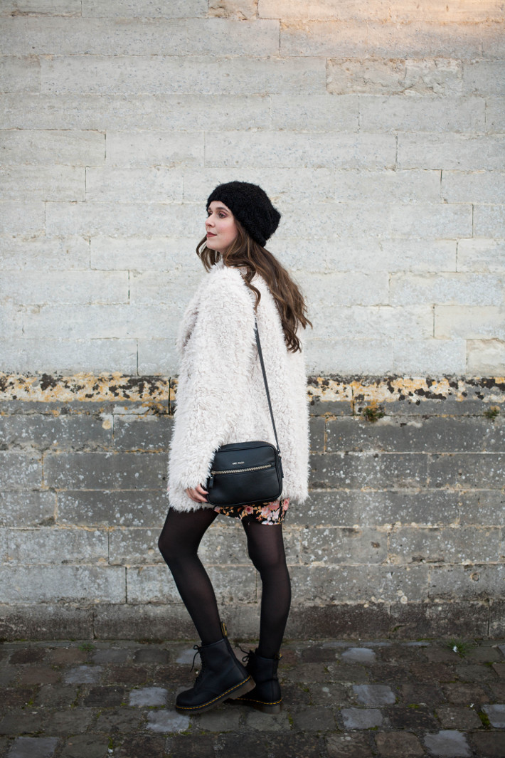 Outfit: fluffy coat, floral dress and Dr. Martens