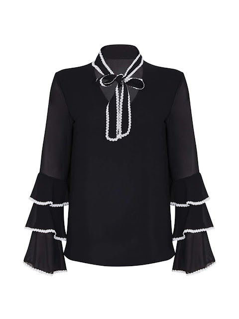 mela london pussybow flute sleeve blouse