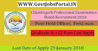 Chhattisgarh Professional Examination Board Recruitment 2018 – 23 Field Officer, Field man