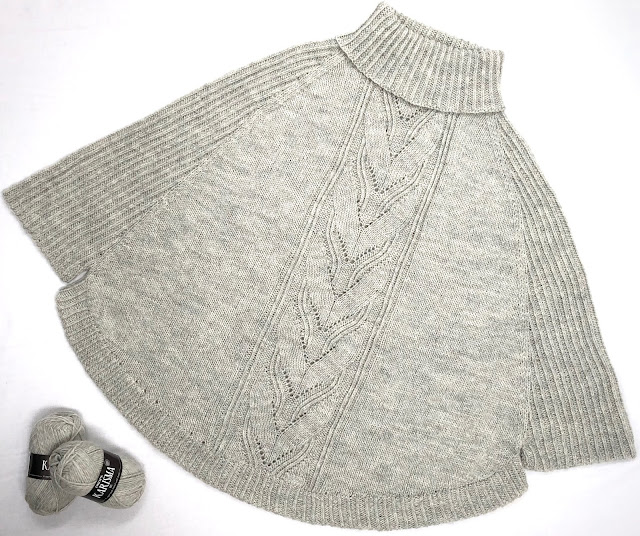 Grey poncho knitted with DROPS Karisma
