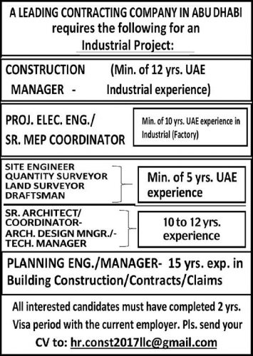 Engineers Urgent Job Vacancies in Abudhabi