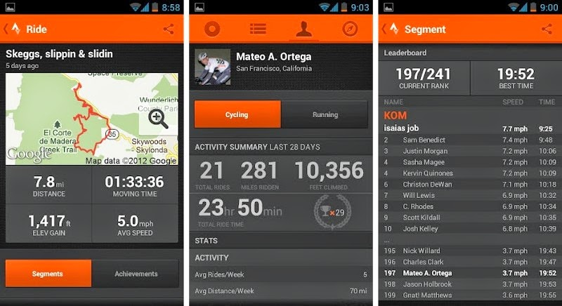 The multiple screens available using the Strava app