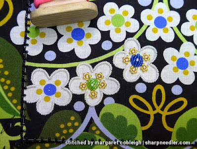 Using a different method for outlining the beaded flowers. (Wild Child Japanese Bead Embroidery by Mary Alice Sinton)