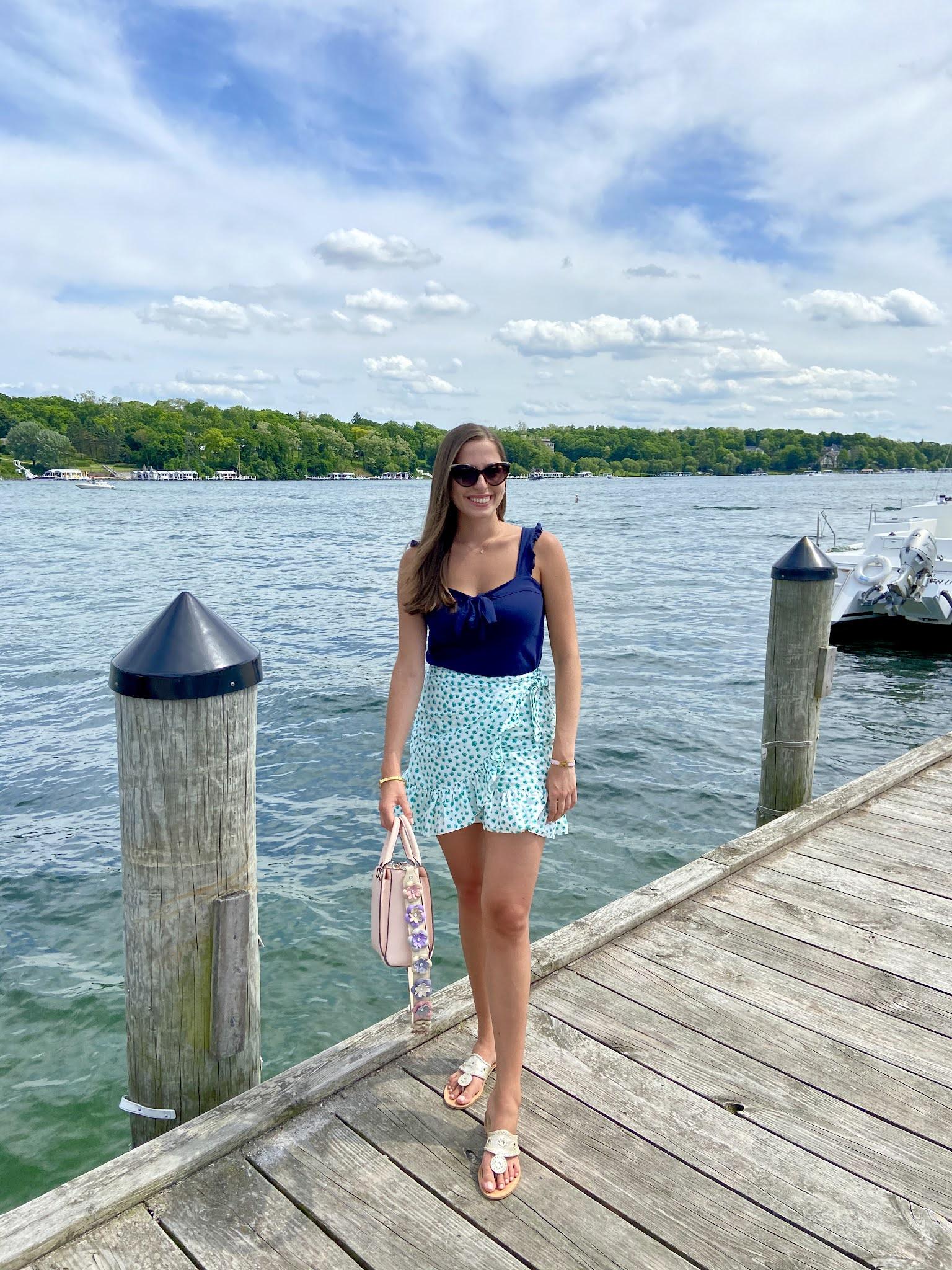 lake, midwest, summer, ruffle skirt