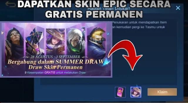 Update! Kode Redeem Mobile Legends (ML) 29 Agustus 2020 Skin Epic Permanen