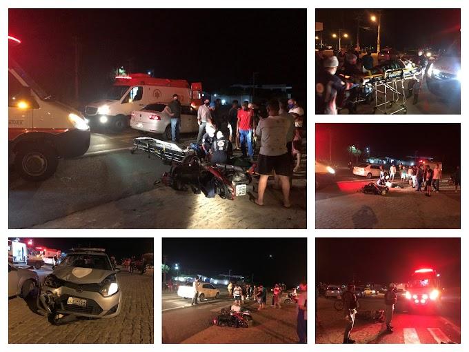 Colisão na BR 230 envolvendo moto e viatura da Polícia Civil deixa casal ferido na noite desta quarta-feira em Cajazeiras
