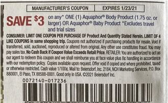 """$3.00/1 Aquaphor Body Product 1.75oz Or Larger Or Aquaphor Baby Coupon from """"SMARTSOURCE"""" insert week of 1/10/21."""