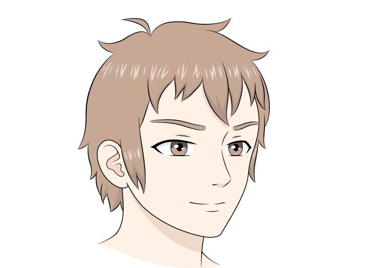 Anime laki-laki menghadapi gambar tampilan 3/4