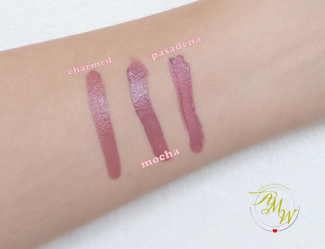 a swatch photo of OFRA Long Lasting Liquid Lipstick review in Mocha, Charmed and Pasadena by Nikki Tiu of askmewhats.com