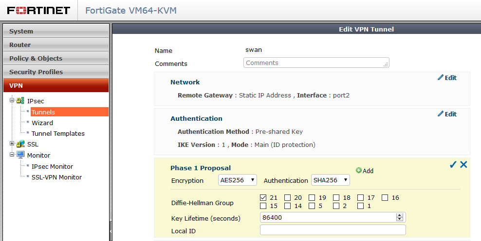 Route based VPN between FortiGate and strongSwan | Andras