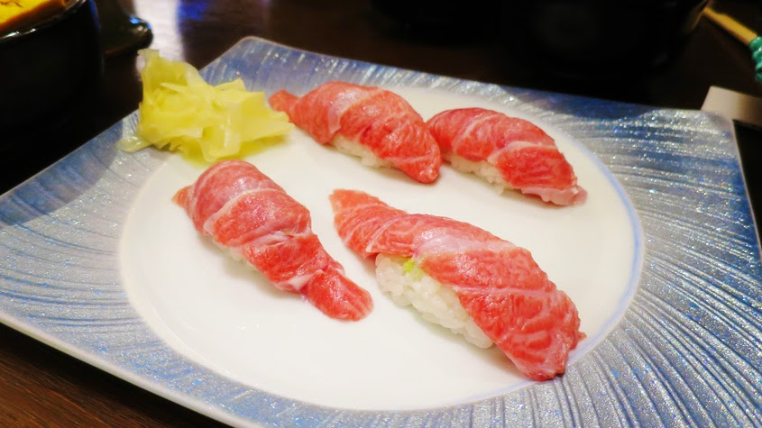 Delicious o-toro sushi at the fish market