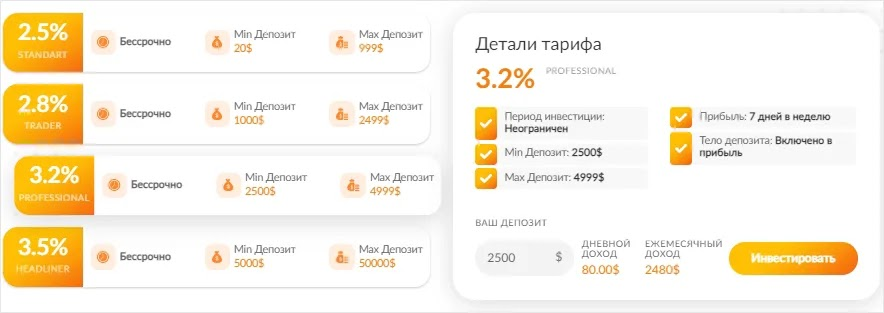 Инвестиционные планы PulsarBank 3