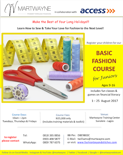 Martwayne partners with Access Bank on our popular sewing class for kids on holidays – the Basic Fashion Course for Juniors (ages 9-16)