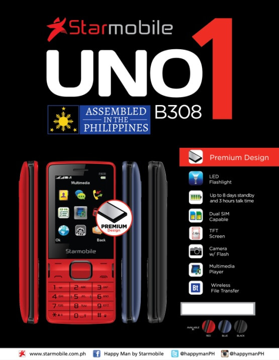 Starmobile Launches Locally-Assembled UNO B208 PH Edition and UNO B308 Feature Phones