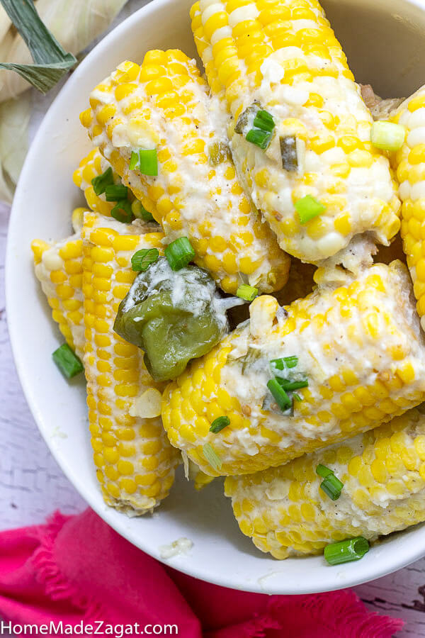 A bowl of corn on the cob already simmered