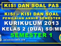 Penilaian Akhir Semester (PAS) Kelas 2 Semester 1 Tahun Pelajaran 2020 - 2021