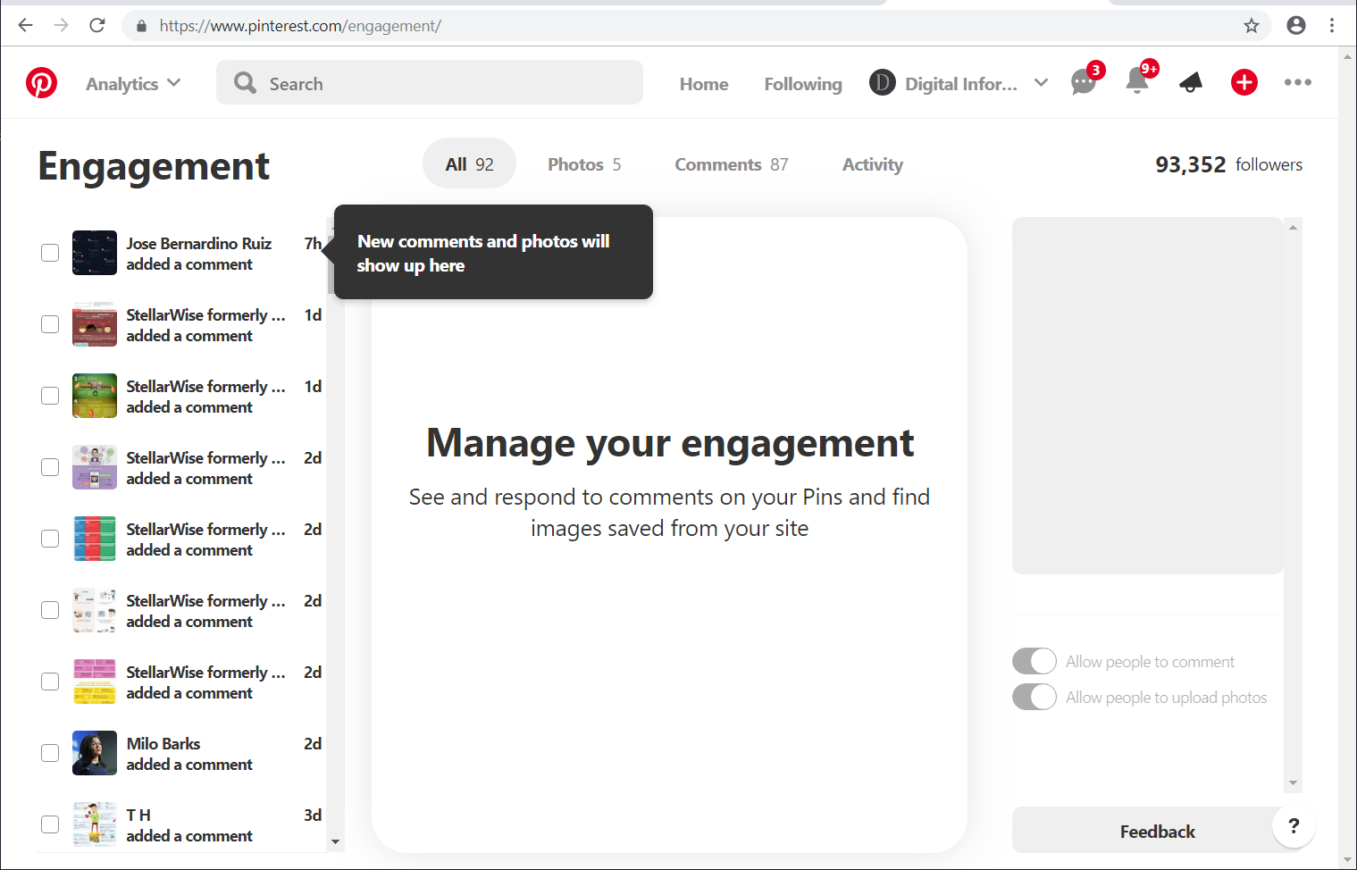 Pinterest Rolls Out an Engagement Tab to Centralize the Comments Moderation Process!
