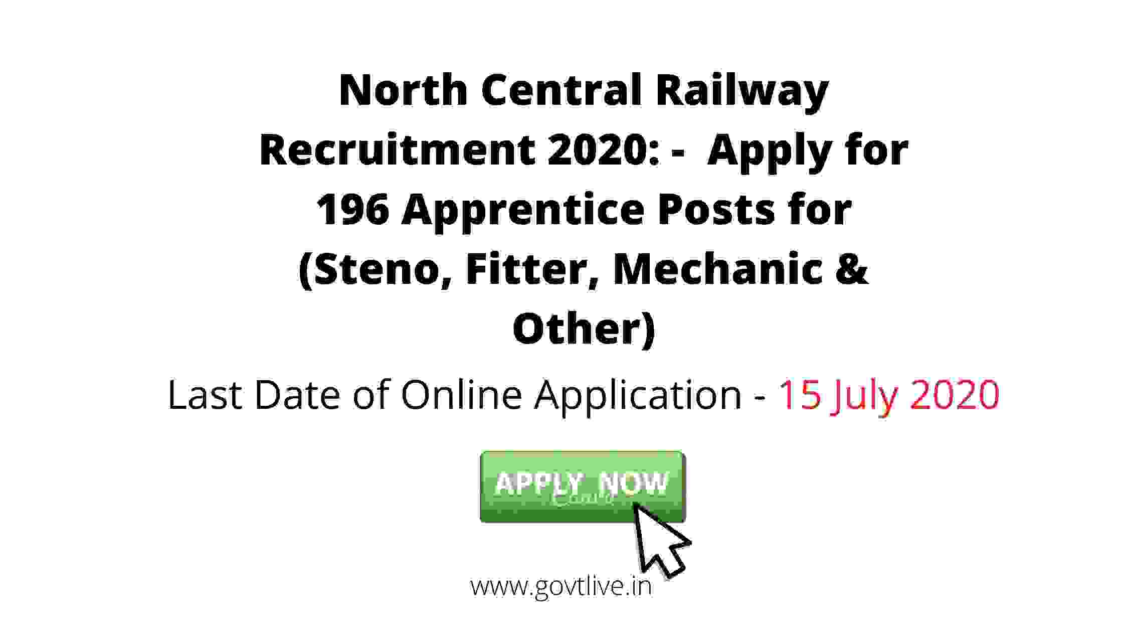 North Central Railway Recruitment 2020: -  Apply for 196 Apprentice Posts for (Steno, Fitter, Mechanic & Other)