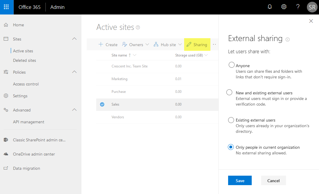 disable external sharing sharepoint online site collection