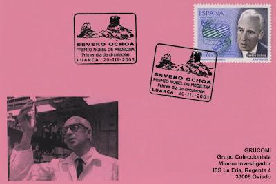 Tarjeta matasellos en Luarca de Severo Ochoa 2003