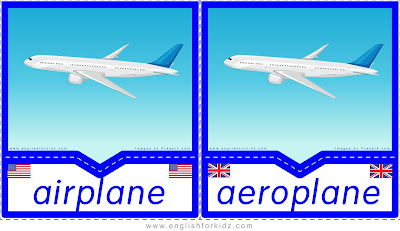 airplane and aeroplane, printable transportation flashcards, American and British English