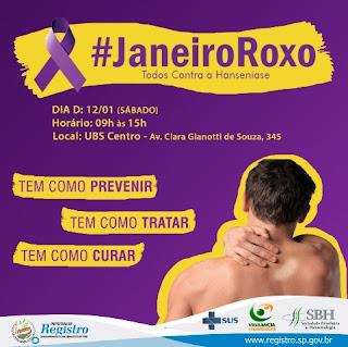 Saúde de Registro-SP promove Janeiro Roxo contra a Hanseníase