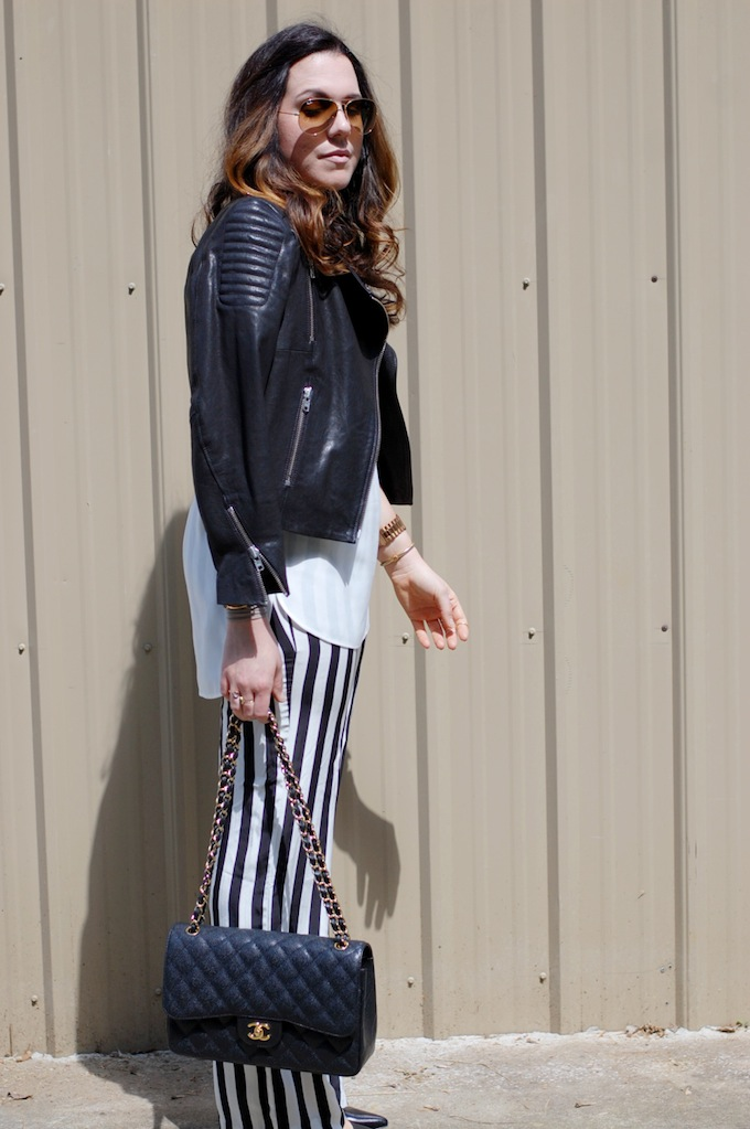 424 Fifth tank, Joe Fresh silk pants, H&M Icons leather jacket and Chanel Jumbo Classic
