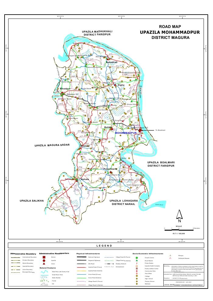 Mohammadpur Upazila Road Map Magura District Bangladesh