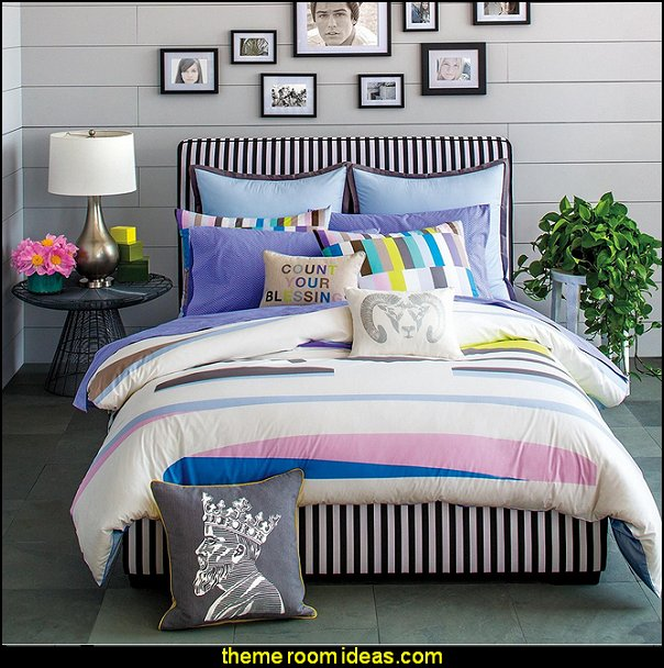 stripes on walls - striped decorating ideas - stripe wall decals - stripes bedding - stripes wallpaper - stripe theme baby nursery - decorating with stripes - striped rooms - painted stripes - striped walls - stripe bedding - stripe pillows - striped decorations