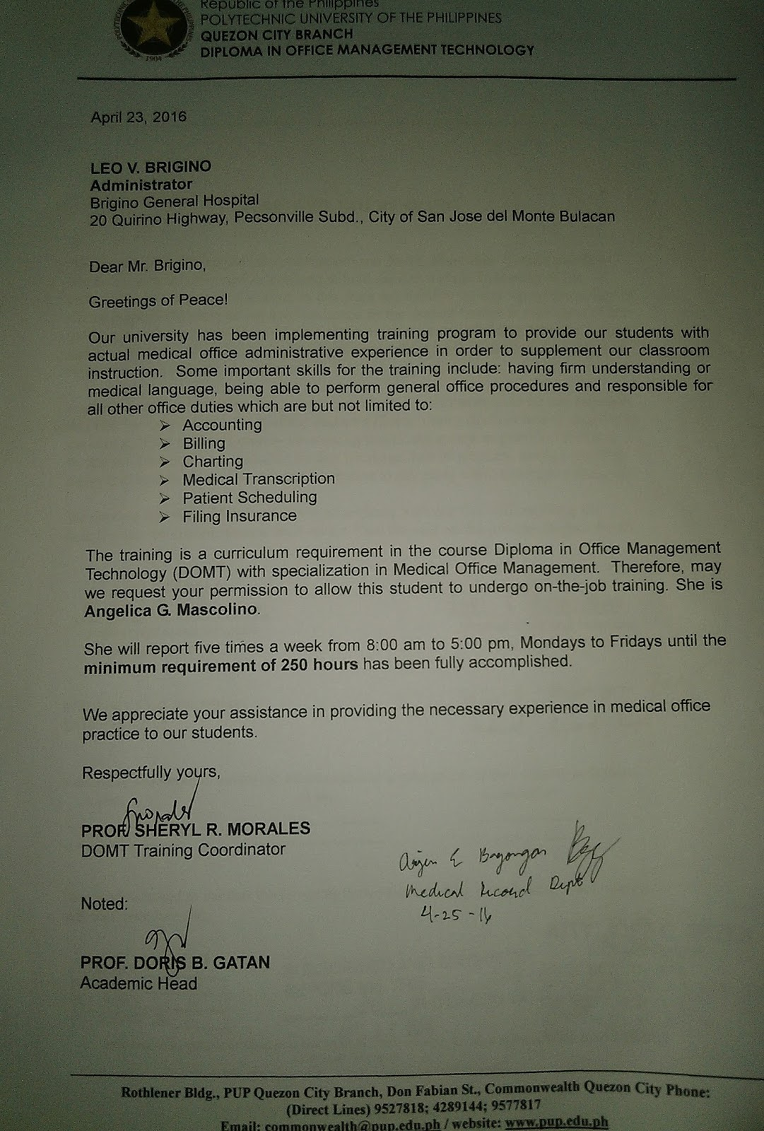 ANGELICA MASCOLINO's BLOG: Recommendation Letter and Waiver