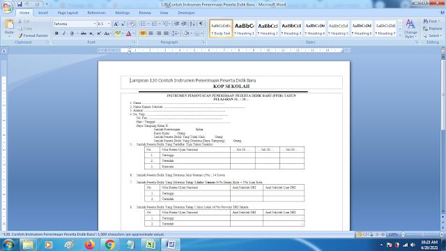 Contoh Format Instrumen Penerimaan Peserta Didik Baru SD SMP SMA dan SMK