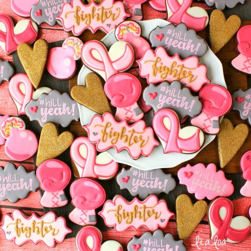 Gold and pink breast cancer decorated sugar cookies- a cookie decorating tutorial