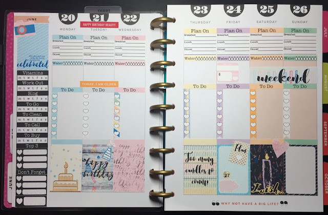 Full view of my weekly spread in my Happy Planner using the free Birthday 3 Sampler from myplannerenvy.com