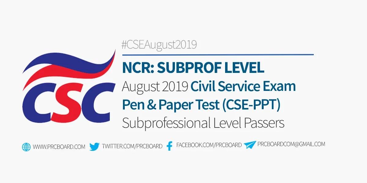 Ncr Result August 2019 Civil Service Exam Cse List Of