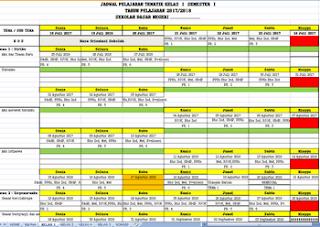 Aplikasi Jadwal Pelajaran Kurikulum 2013 Semester 1 Tahun Pelajaran 2017/2018 Format Excel
