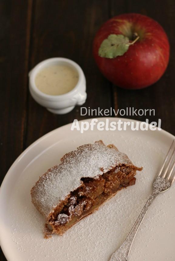 парче ябълков щрудел с пълнозърнесто лимецово брашно
