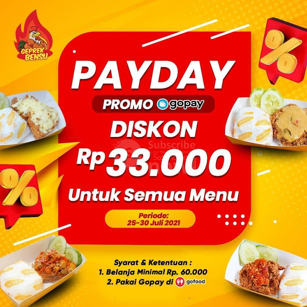Geprek Bensu PAYDAY Promo Gopay Diskon Rp 33.000 Untuk Semua Menu