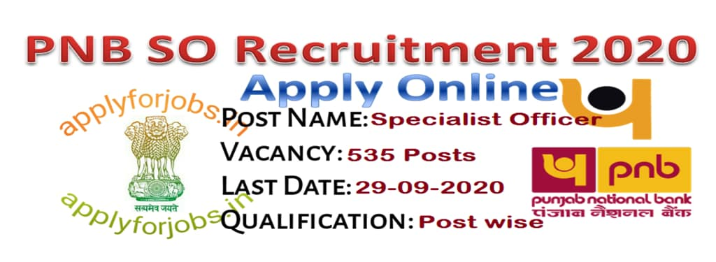 PNB SO Recruitment 2020 Online Application, applyforjobs.in
