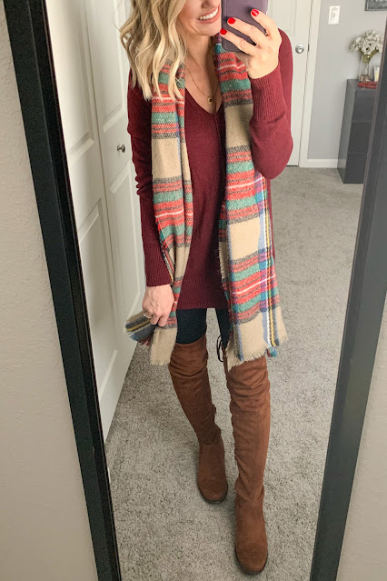 Drape a plaid scarf over your outfit